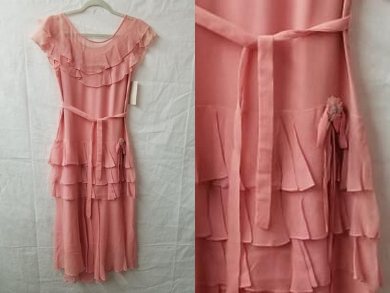 1930's Vintage Lovely Pastel Rose Pink Chiffon Dre