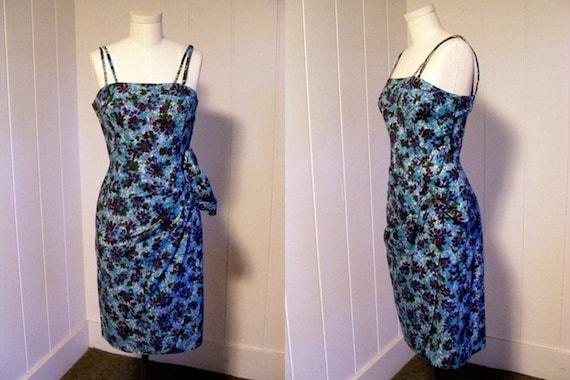 1940 1950 Vintage Blue Hawaiian Sarong Dress Rocka