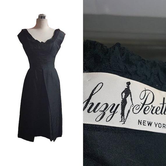 1950's Vintage Suzy Perette Black Lace & Silk Cock