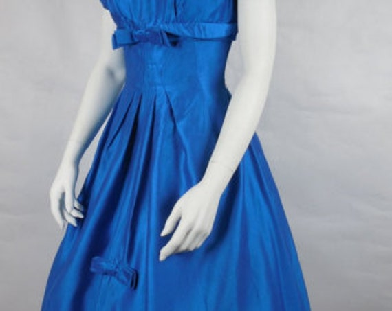 1950's Vintage Electric Blue Cocktail Party Dress… - image 3