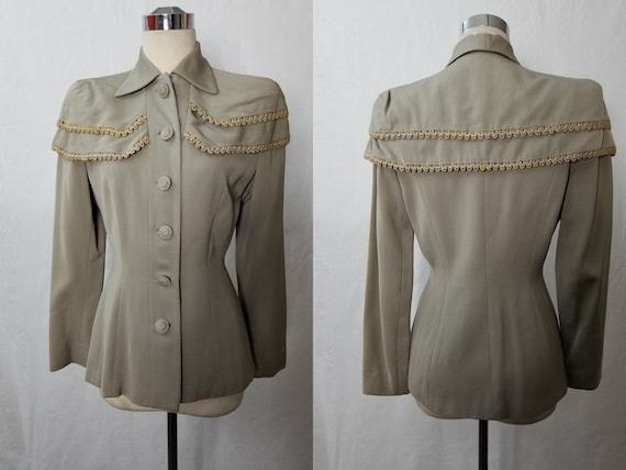 1940's Lilli Ann Style Gray Gabardine Jacket with