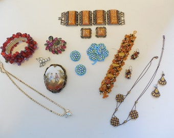 Vintage Jewelry Lot #5 of 9 Costume Jewelry Pieces Juliana, Weiss and More