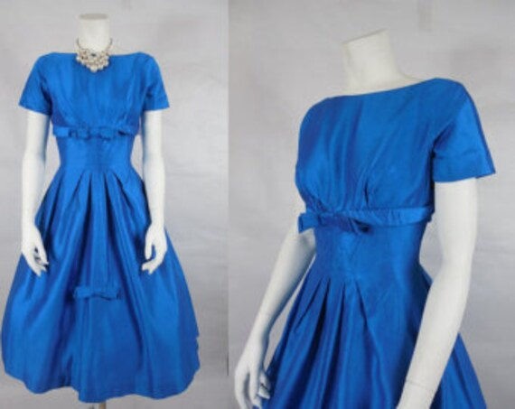 1950's Vintage Electric Blue Cocktail Party Dress… - image 1