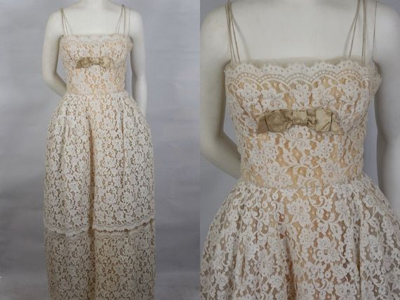 1950 Peggy Hunt Lace Shelf Bust Evening Gown Very