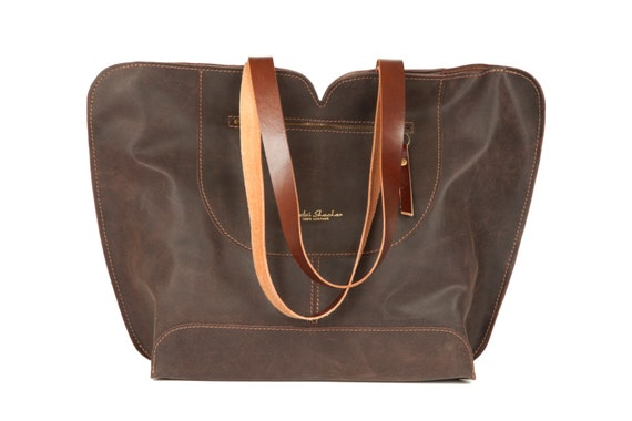 57916f6f2937 Brown Leather tote big leather bag Women bag The perfect