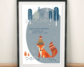 Personalised fox kids print - Scandi style in cool, calm grey and blue,  nursery wall art, original birth poster giclee print, A4 or A3