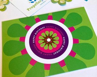 "Happy Birthday card, greeting card, 4x6"" bright LIME GREEN folded card, gerbera daisy design, citrus, summer colours, original Irish design"