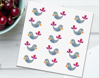 New baby card, Baby Birds folded square card, soft grey, white , smoky blue, cherry red, gold, purple feathers, original Irish design