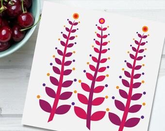 Greeting card, Waving Leaves seaweed, folded square blank card, cherry red, burnt orange, pink, purple, original contemporary Irish design