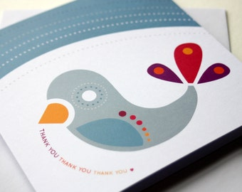 THANK YOU card, Winter Birds folded square blank greeting card, soft grey, smoky blue, white, cherry red, gold, purple feathers, bird, Irish