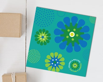 Greeting card, Thank you card, Aqua Lime Daises, Thanks a Million, folded square blank card, blue, green, lime, white, floral design, Irish