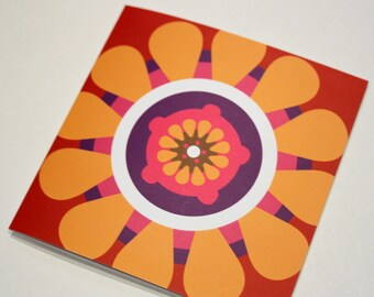 Greeting card, bright spicy orange and red folded square card, blank, bold gerbera daisy design, citrus summer colours, Irish design