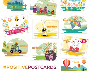 Positive Postcards A6 - packs of 5 or 10 - cheerful uplifting postcard designs for family and friends, happy vibe with FREE SHIPPING