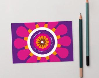Thank You card 4x6, A6, blank, bright purple, pink, gerbera daisy design, citrus bright summer colours, orange, white, flower, Irish design