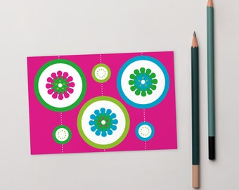 Greeting card, Hot pink blank card, 4x6, A6, Citrus slice, summer, lime green, aqua, turquoise, circles, contemporary Irish design, flowers