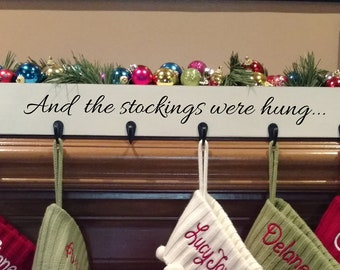 and the stockings were hung family stocking hooks mantle stocking holder farmhouse decor reclaimed wood stocking hanger christmas