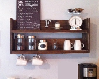 Rustic Kitchen Shelf Coffee Bar Reclaimed Wood Wooden Storage