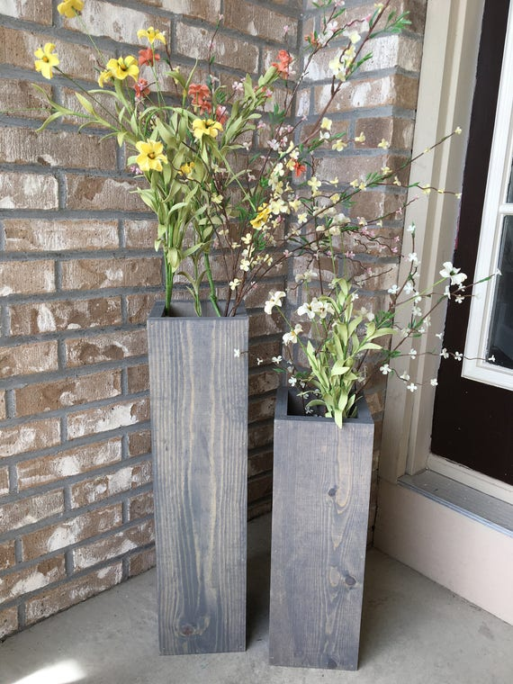 Large Wooden Vases Reclaimed Wood Floor Vases Set Of Two Etsy