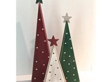 Wooden trees, Christmas trees, set of 3 trees, wood Christmas trees, tree shelf sitters, primitive trees, Christmas decor, rustic Christmas