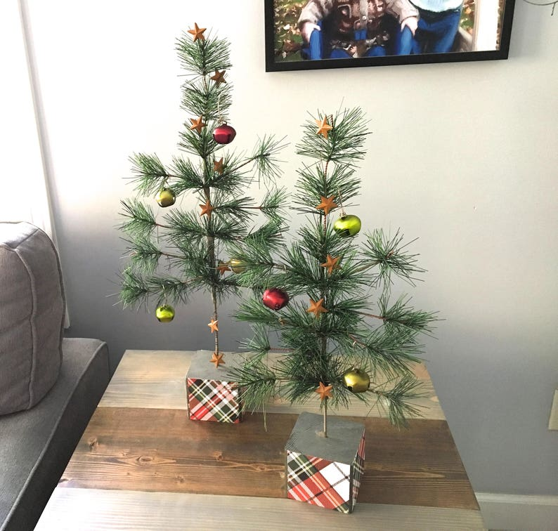 Christmas Tree Table Top Artificial Tree Jingle Bells Plaid Trees Trees For Mantle Christmas Decor Small Christmas Tree