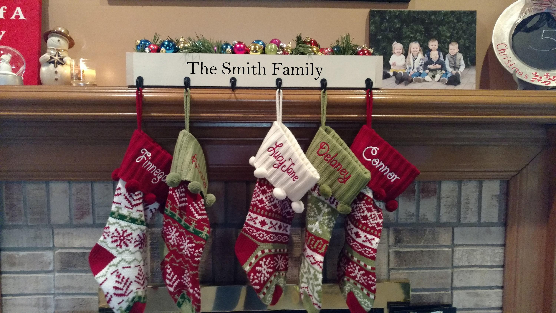 Family stocking holder mantle stocking hooks Christmas | Etsy