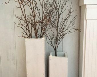 white wooden  vases, reclaimed wood, distressed wood, floor vases, set of two, farmhouse decor, large floor vase, rustic decor, porch decor