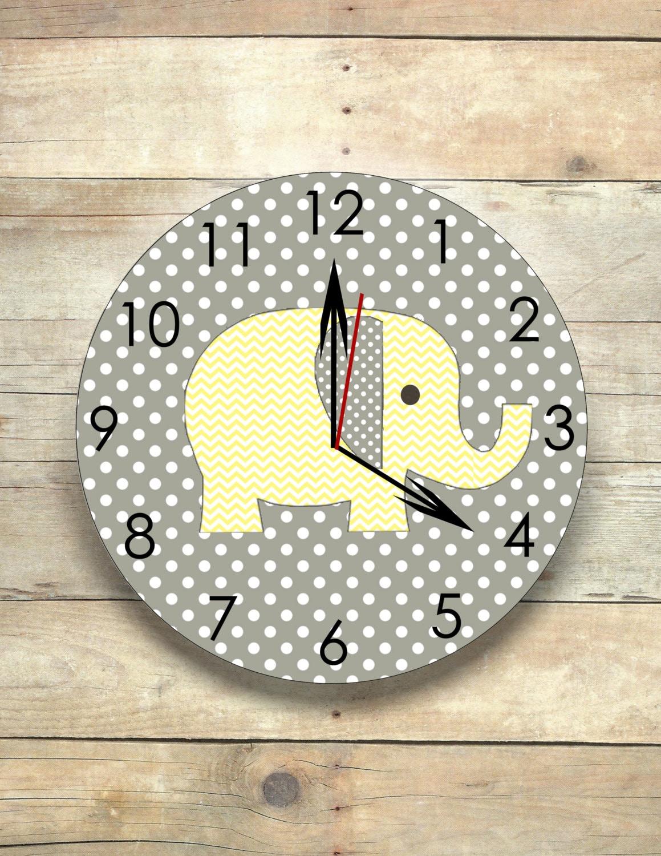elephant nursery elephant clock gray and yellow safari clock | Etsy