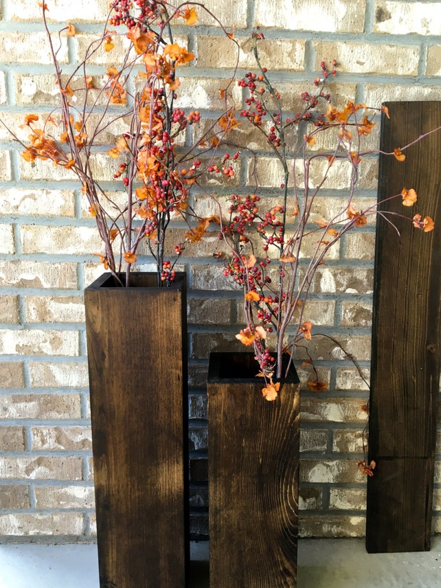 Wooden Vases Reclaimed Wood Rustic Vases Floor Vases Set Etsy