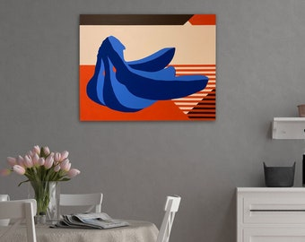 TITLE: Confined Glance. Abstracted, modern, minimalism, geometric colorful banana painting. Home decor. ORIGINAL ART and Prints.