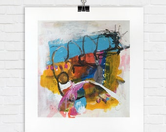 TITLE:The Magpie's Nest. Abstract Painting on Paper, Original, Square, Bright and Brilliant Mark Making. Energetic and Playful.