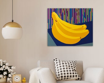 TITLE: Executive Decision. Abstracted, modern, minimalism, geometric colorful banana painting. Home decor. ORIGINAL ART and Prints.