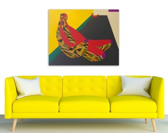 TITLE: Meanwhile, still lounging. Abstracted, modern, minimalism, geometric colorful banana painting. Home decor. ORIGINAL ART and Prints.