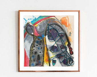 TITLE: Politely Compromising. Abstract Painting on Paper, Original, Square, Bright, Brilliant Mark Making. Energetic and Playful. Stitched.
