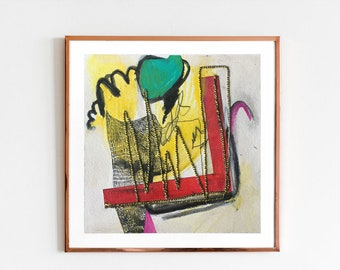 TITLE: Spilled Admiration. Abstract Painting on Paper, Original, Square, Bright and Brilliant Mark Making. Energetic and Playful. Stitched.