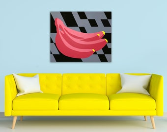 TITLE: Just The Tips. Abstracted, modern, minimalism, geometric colorful banana painting. Home decor. ORIGINAL ART and Prints.