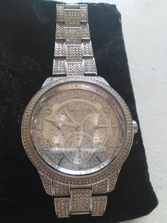 Michael kors women's pave silver wristwatch multif