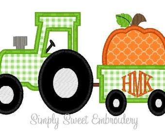 Tractor Wagon Pumpkin Machine Embroidery Applique Design