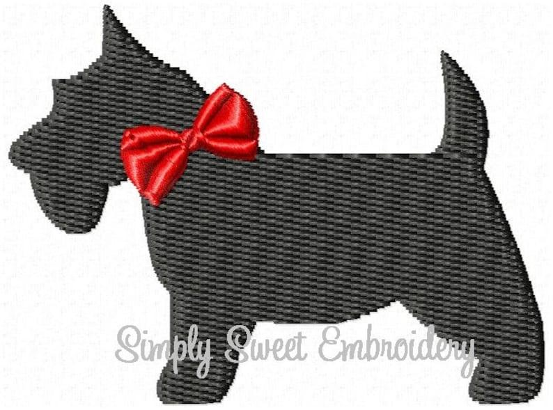Girl Scottie Dog Machine Embroidery Mini Design