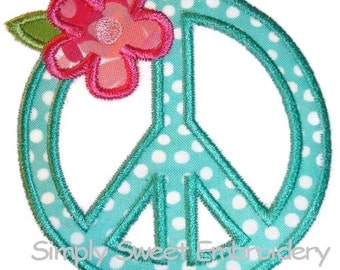 Peace Sign Flower Machine Embroidery Applique Design