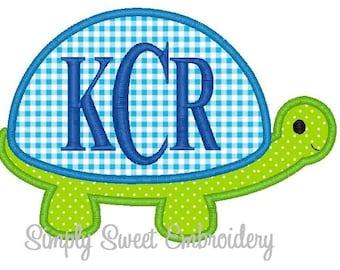 Boy Turtle Applique Machine Embroidery Design - 3 Sizes
