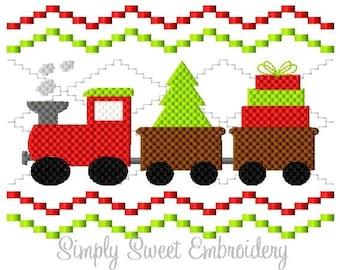 Faux Smocking Christmas Train Machine Embroidery Design