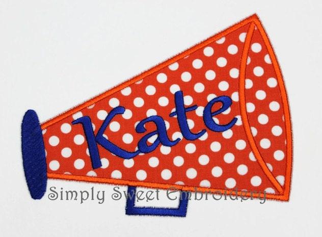 Megaphone Cheer Applique Machine Embroidery Design Etsy