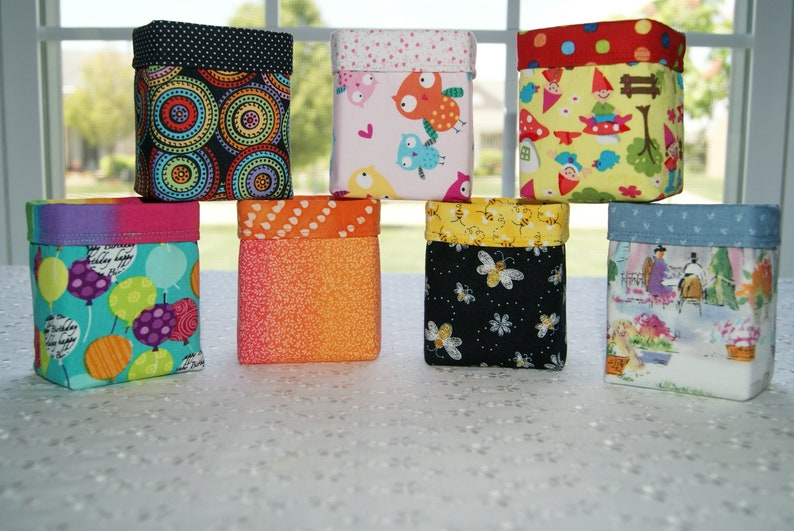 Cotton Fabric Bin Small Storage Holder Desk Accessory Candy image 0