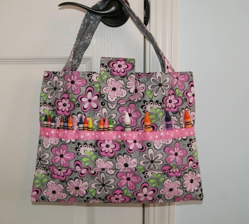 Child Activity Bag Girl Coloring Supplies Organizer Pink image 0