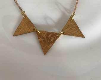 Brass pennant necklace ,flag necklace