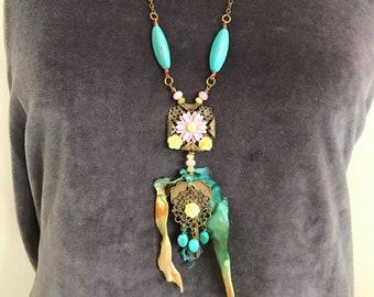 Boho necklace, Sari necklace, music festival