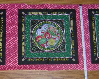 """Rare Mary Engelbreit Christmas Unfinished COTTON Fabric Panels - BOLT END -  11"""" x 42"""""""
