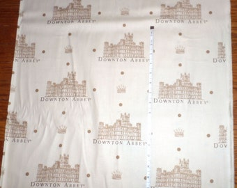 Downton Abbey Mansion + Logo New Cotton Fabric LARGE PRINT by Andover -