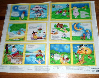 MARY ENGELBREIT -- Nursery Rhymes- Unfinished. Cotton Fabric Soft  Book Panel - Volume 1- BOLT End