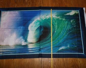 "Rare Artworks IX OCEAN WAVES Surf Waves Coastal Cotton Fabric Panel - 23"" by 43"" - bolt end"